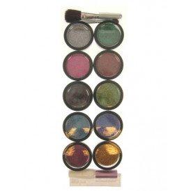 PXP Glitterpoeder 10 kleuren+lijm+penseel+borstel 8gr