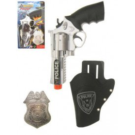 Pistool met holster met badge polit