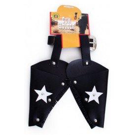 Holster cowboy met sterren zwart volwassenen