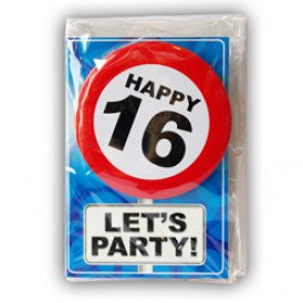 Verjaardagskaart met button 16 jaar