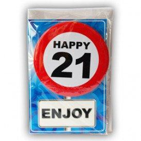 Verjaardagskaart met button 21 jaar