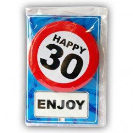 Verjaardagskaart met button 30 jaar