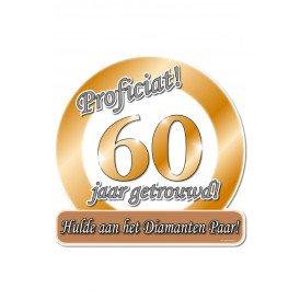 Huldeschild 50x50 cm metalic60 jaar getrouwd
