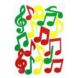 Adhesive muzieknoten rood/geel/groen 35x50cm