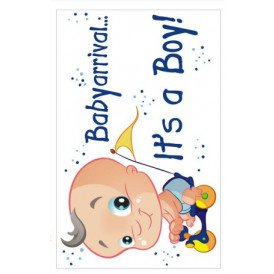 Adhesive babyarrival it's a boy 35x55 cm