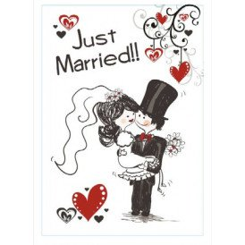 Adhesive just married 35x55 cm