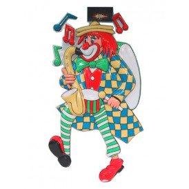 Wanddeco clown met saxofoon 60 cm.