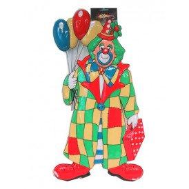 Wanddeco clown met ballonnen 60 cm.