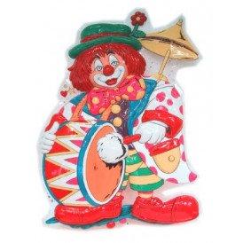 Clowndeco clown met dikke trom 55x40cm