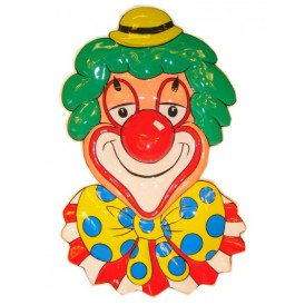 Wanddeco clown met gele bolhoed 70