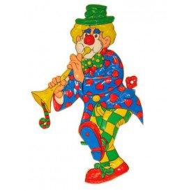 Clownsdeco met trompet 70 cm.