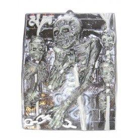 Wanddeco dood met skelet 42 x 50 cm. plastic