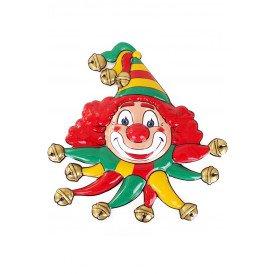 Wanddeco clown rood/geel/groen 50x55 cm