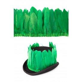 Ganzenveer op band donker groen 3m
