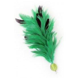 Verenpluim groen 30 cm buigbaar met speld en clip