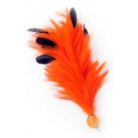 Verenpluim oranje 30 cm buigbaar met speld en clip