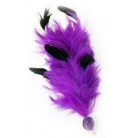 Verenpluim paars 30 cm buigbaar met speld en clip