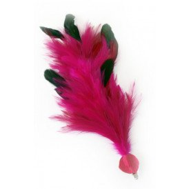 Verenpluim pink 30 cm buigbaar met speld en clip