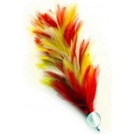 Verenpluim rood/wit/geel 30 cm buigbaar met speld en clip