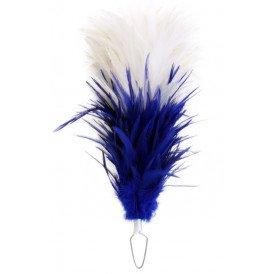 Veren pluim wit/blauw boa 35cm