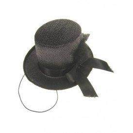 Midi hoge hoed glitter + deco zwart