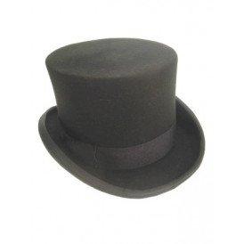 Hoge hoed wolvilt zwart mt 61