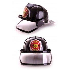Brandweerhelm met vizier zwart plastic