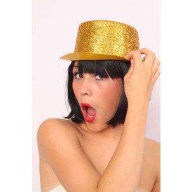 Hoge hoed plastic glittergoud