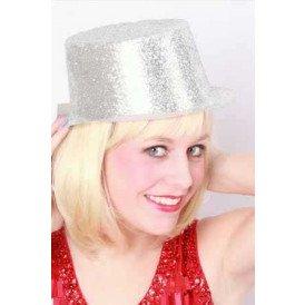 Hoge hoed plastic glitterzilver