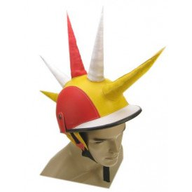 Funhelm punk rood/wit/geel spike mt 58