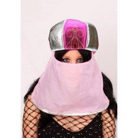 Arabische muts roze met sluier