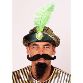 Sultan muts met veer groen one size