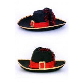 Musketier hoed zwart/rood met band en veer