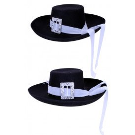 Musketier hoed zwart + witte band populair