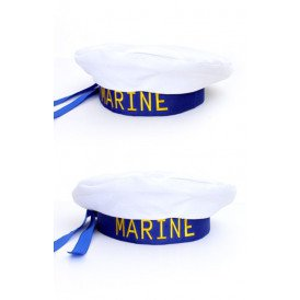 Matrozenbaret blauw/wit one size