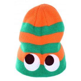 Gebreide muts oranje/groen met ogen
