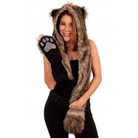 Muts,handschoenen,sjawl  bruin fluf