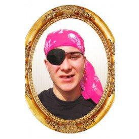 Piraten hoofddoek roze met opdruk 70x70 cm