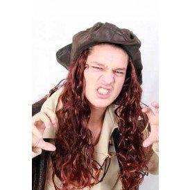 Hoed caribische piraat + bruin haar