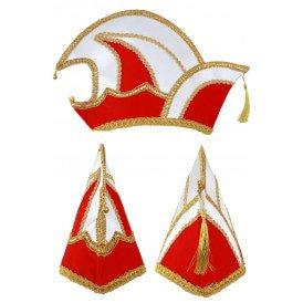 Prinsenmuts rood/wit maat 63