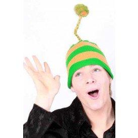 Muts gebreid harrie slinger+flosje oranje/groen one size