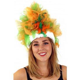 Fur hoed oranje groen