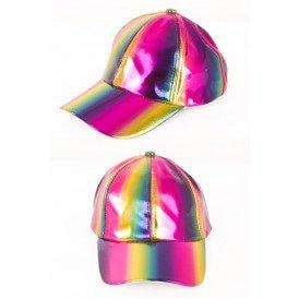 Baseballcap regenboog metallic
