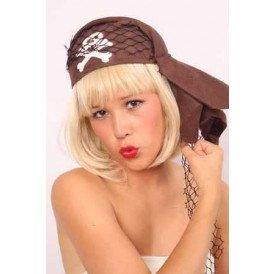 Piraten cap bruin met doodskop