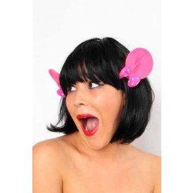 Haarclip met roze mickey oortjes