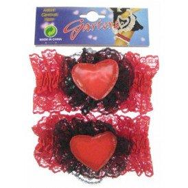 Luxe kousenband met rood hart per paar