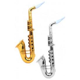 Saxofoon plastic goud/zilver assortie