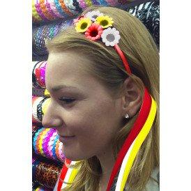 Haarbeugel bloemetjes rood/wit/geel