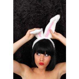 Diadeem konijnenoren wit/roze