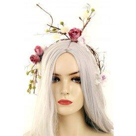 Diadeem de luxe winter -thema wit takken bloemen